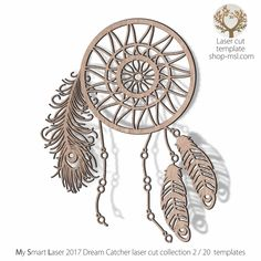 """Purpose & Meaning of the Dream Catcher. Sometimes referred to as """"Sacred Hoops,""""  dream-catchers were traditionally used as talismans to protect sleeping people, usually children, from bad dreams and nightmares. Native Americans believe that the night air is filled with dreams, both good and bad.  This dream catchers template is part of our 2017 designer range of 20 patterns. It's perfect for laser cutting. Download true Vector """"Zib"""" file (PDF, AI, EPS, SVG, CDR x... Hoop Dreams, Bad Dreams, Engraving Ideas, Laser Engraving, Die Cutting, Laser Cutting, Dream Catcher Vector, Feather Template, Dreams And Nightmares"""