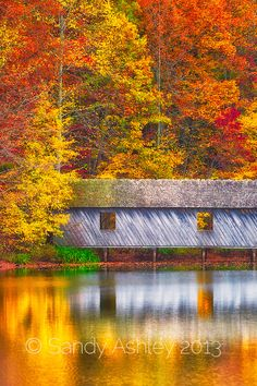 Fall foliage and reflections surround covered bridge at Madison County Nature Trail atop Green Mountain.  Huntsville, AL, USA.