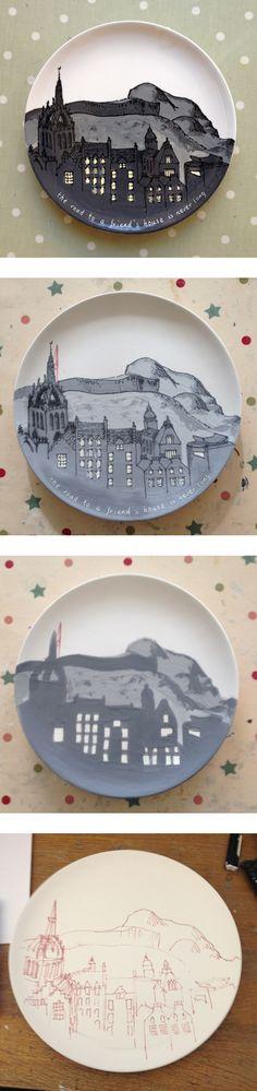 commission with edinburgh skyline. July 2014