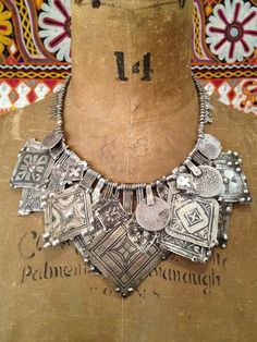 "Victoria Rivers | Necklace, antique silver and niello inlay Berber amulets, old Moroccan silver beads and coins, ""cobra head"" pendants"