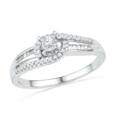 Sterling Silver Baguette and Round Diamond Promise Ring (1/5 CTTW) -- Find out more details by clicking the image : Promise Rings