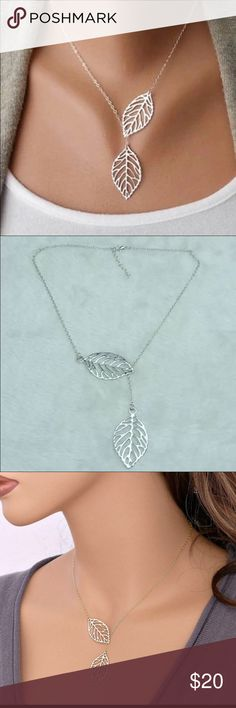Lariat style silver leaves necklace Brand new silver leaves necklace made of zinc alloy. Jewelry Necklaces