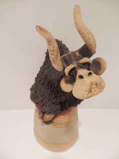 Todd Warner 1977 Dinner Bell Bison Buffalo Signed Vintage Pottery Ceramic