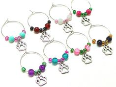 Wine Glass Charms - Dog / Cat / Paws Themed - 8 Pieces - Multi Color Beads by Trio Artisan Designs on Gourmly