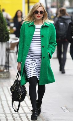 Fearne Cotton Pregnancy Style. We love the emerald-green coat! Brightens up the entire look.