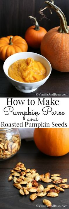 An tutorial on how to roast whole pumpkin, puree it and roast the most mouthwatering pumpkin seeds. | Vanilla And Bean
