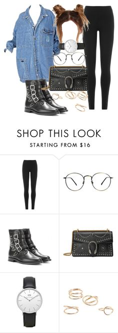 """""""Untitled #4490"""" by olivia-mr ❤ liked on Polyvore featuring DKNY, Yves Saint Laurent, Gucci, Daniel Wellington and MANGO"""