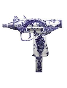 Delft Machine Gun by Magnus Gjoen  Lavender purple toile pattern - if it was functional I would buy one and hang it next to my bed