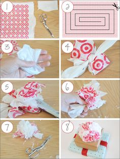make a pompom bow out of plastic grocery bag, put on present wrapped in brown grocery sack or newspaper!  No waste Xmas wrapping!