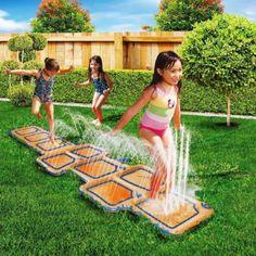Kids Outdoor Water Slide Spray Hopscotch Pool Garden Summer Fun Aqua Game Mat