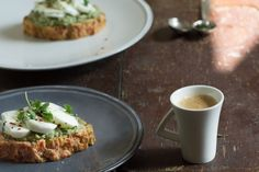 High-protein breakfast made from cheese bread, avocado and poaches egg whites.