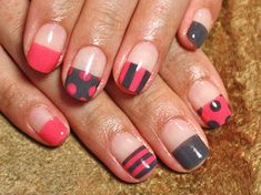 polka dots   stripes pink and black french nails  | See more at http://www.nailsss.com/colorful-nail-designs/2/