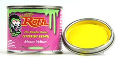 Full line of Lil Daddy Roth metal flakes, pearls, and pinstriping paints! stores.ebay.com/rockabillyhoodlum #hotrod #motorcycle #custom #kustomkulture #custompaint #kustom #metalflake #edroth #edbigdaddyroth #ratfink #bigdaddyroth #vondutch #rockabilly #roadster #ratrod #hotrodart #rockabillyhoodlum #pinstripe #pinstriper #pinstriping #signpainter #signpaint #lildaddyroth #enamel #letteringenamel #pinstripingenamel Yellow Moon, Kustom Kulture, Pinstriping, Painted Signs, Custom Paint, Hot Rods, Enamel, Flakes, Rockabilly
