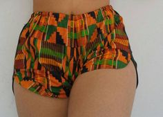Kente Shorts made with kente cotton wax print fabric. Hand or machine wash cold. Size char