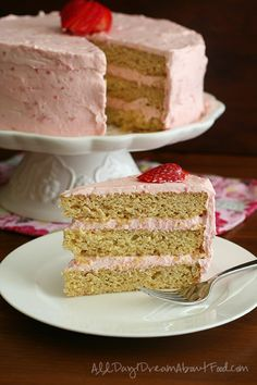 Sugar Free Low Carb Lemon Cake with Strawberry Cream Cheese Frosting