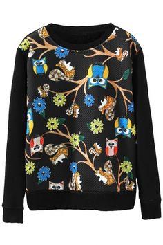 Vintage Owl Pattern Textured Sweatshirt