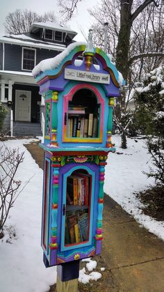 Cute Little Free Library Design Ideas, Recycling for Gifts and Yard Decorations Little Free Library Plans, Little Free Libraries, Little Library, Mini Library, Library Books, Photo Library, Library Inspiration, Library Ideas, Street Library