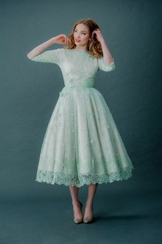 Mint Retro Tea-Length Wedding Dress with Sleeves