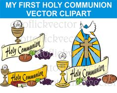 MY FIRST Holy COMMUNION Vector Clipart, religion symbols eps, ai, cdr, png, jpg, celebrate communion banner. invitation, card, background by ottoflickvector on Etsy