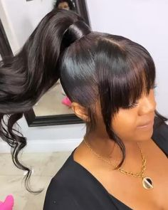 Hair Ponytail Styles, Black Ponytail Hairstyles, Sleek Ponytail, Baddie Hairstyles, My Hairstyle, Weave Hairstyles, Curly Hair Styles, Natural Hair Styles, Weave Ponytails With Bangs