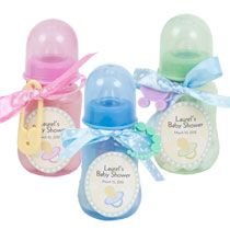 Baby Shower: Baby Bottle Favors Made With Items Found At Dollar Tree.