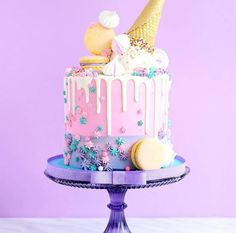 Birthday cake idea, perfect for a sweet sixteen party 🎶 Cute Cakes, Pretty Cakes, Beautiful Cakes, Amazing Cakes, Candy Cakes, Cupcake Cakes, Bolo Cake, Ice Cream Party, Drip Cakes