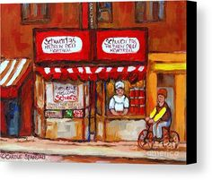 classic-montreal-painting-schwartz-deli-storefront-window-with-chef-and-red-peppers-circa-1960-carole-spandau.jpg (678×579)