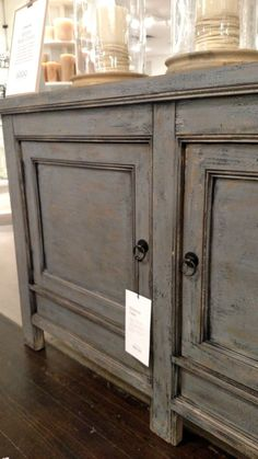 Molucca Media Console Distressed Blue Reclaimed Wood
