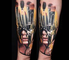 Paint-Brushes Face tattoo by Dave Paulo