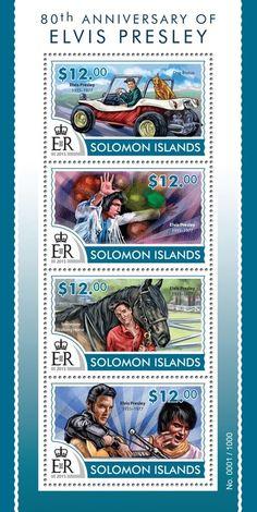 Post stamp Solomon Islands SLM 15313 a80th anniversary of Elvis Presley (1935–1977. Dog Brutus, Tennessee Walking Horse)