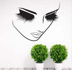 Removable Fashion Home Decor Vinyl Wall Art Decals Sticker Beauty Lashes Spa Salon Sticker Women Face Eyes Decal Mural Wall Art, Wall Decal Sticker, Vinyl Wall Decals, Estudio Makeup, Beauty Lash, Salon Design, Decor Styles, Colorful Backgrounds, Just For You