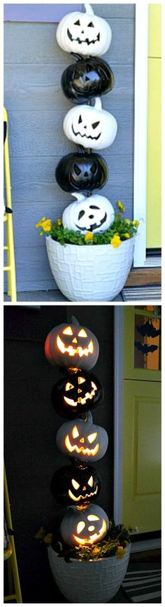 Fun and Easy DIY Halloween Decorating Projects DIY Easy Black and White Jack o Lantern Topiary.DIY Easy Black and White Jack o Lantern Topiary. Spooky Halloween, Porche Halloween, Halloween Veranda, Theme Halloween, Halloween Porch Decorations, Holidays Halloween, Halloween Pumpkins, Halloween Crafts, Happy Halloween