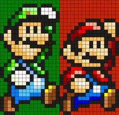 Mario And Luigi Perler Bead Pattern / Bead Sprite Pony Bead Patterns, Kandi Patterns, Pearler Bead Patterns, Perler Patterns, Beading Patterns, Bracelet Patterns, Stitch Patterns, Perler Bead Mario, Perler Beads