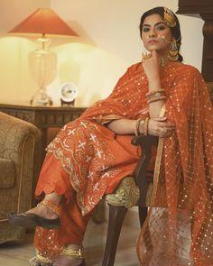 Orange traditional formal punjabi suits