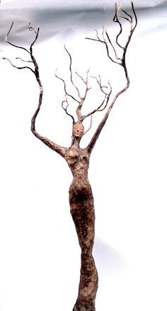 paper mache, tree spirit She grows into a tree & the twig will fall from the tree & stick straight up from the ground. Forming another tree spirit Paper Mache Projects, Paper Mache Clay, Paper Mache Sculpture, Paper Mache Crafts, Sculpture Art, Paper Mache Tree, Paper Sculptures, Sculpture Ideas, Armature Sculpture
