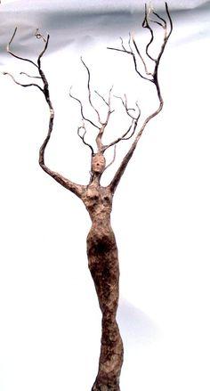 paper mache, tree spirit