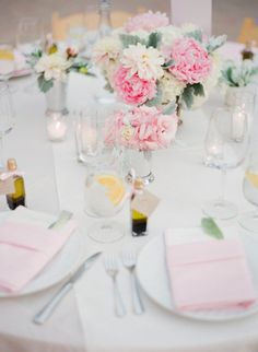 Such a sweet setting with the pink flowers and sweet napkins too! Love the touch of dusty miller