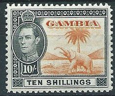 Gambia 1938 SG161 10/- Orange & Black Mounted Mint .. .. Listing in the Gambia,Commonwealth & British Colonial,Stamps Category on eBid United Kingdom