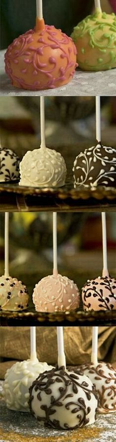 Fancy Cake Pops - perhaps for a sweet touch cocktail hour. Just Desserts, Delicious Desserts, Dessert Recipes, Cake Recipes, Yummy Food, Food Cakes, Mini Cakes, Cupcake Cakes, Yummy Treats