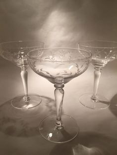 Vintage crystal champagne coupes