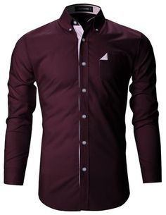 Mens Slim Fit Plaid Lined Stretch Casual Dress Shirts (SH137)