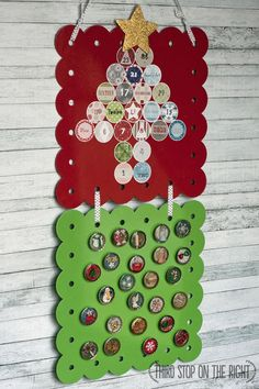 Make a magnetic Advent calendar for your kids using bottle caps. Too cute!