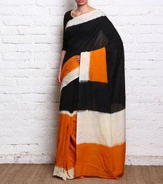 Black, Orange & White Cotton Saree With Ikat