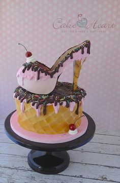 Strawberry ice cream shoe cake