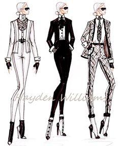 Hayden Williams Fashion Illustrations | Fashion Elite collection: Karl Lagerfeld by Hayden Williams