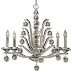 Uttermost Kane 6-Light Glass Ball Chandelier in Nickel - KINGS-UT21174 | Home Office Lighting Ideas