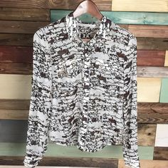 Rachel Roy Button Up Rachel Roy Button Up  Stunning blouse with unique black & brown print.   #rachelroy #flowy #woodsnap RACHEL Rachel Roy Tops Blouses