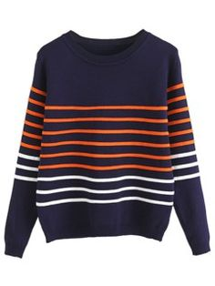 Shop Navy Blue Round Neck Contrast Stripe Sweater from choies.com .Free shipping Worldwide.$23.19