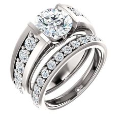 2.0 Ct Round Accente  2.0 Ct Round Accented Diamond Engagement Ring 14k White Gold –  Goldia.com