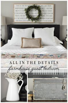 all the details on our cute farmhouse styled guest bedroom via littleglassjarcom - Guest Bedroom Decor